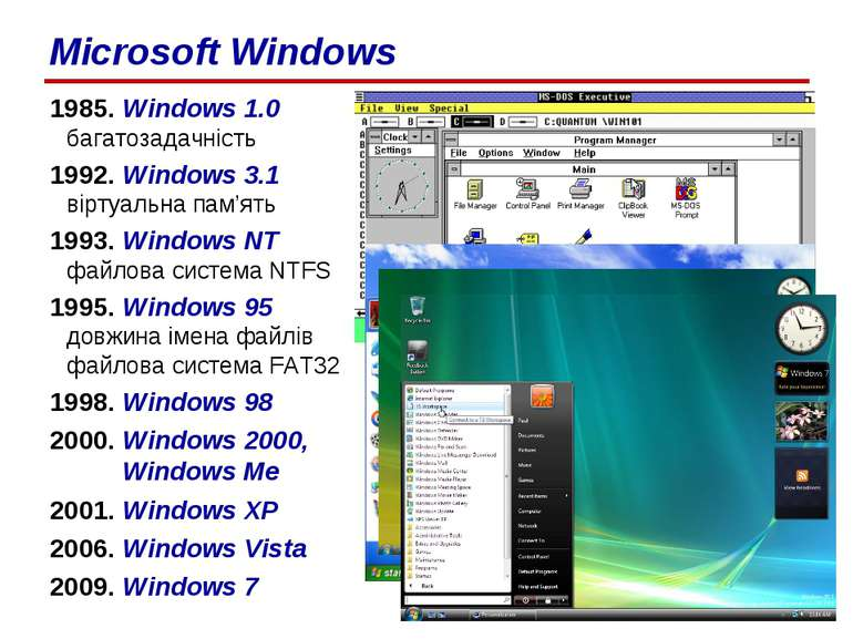 1985. Windows 1.0 багатозадачність 1992. Windows 3.1 віртуальна пам'ять 1993....