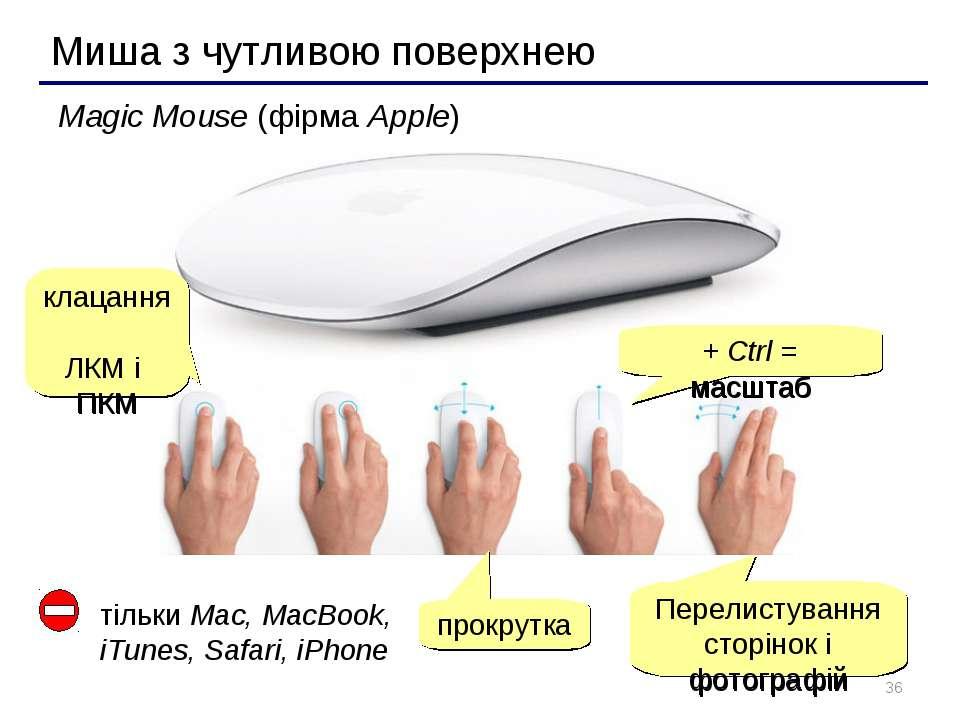 * Миша з чутливою поверхнею Magic Mouse (фірма Apple) клацання ЛКМ і ПКМ прок...