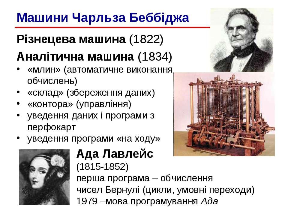 Різнецева машина (1822) Аналітична машина (1834) «млин» (автоматичне виконанн...