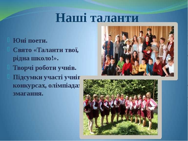 Наші таланти Юні поети. Свято «Таланти твої, рідна школо!». Творчі роботи учн...