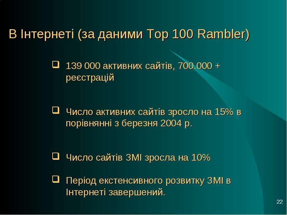 * В Інтернеті (за даними Top 100 Rambler) 139 000 активних сайтів, 700.000 + ...