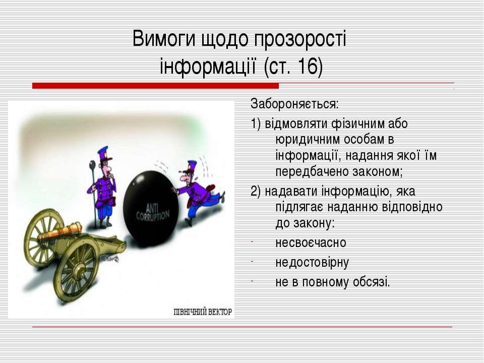 Вимоги щодо прозорості інформації (ст. 16) Забороняється: 1) відмовляти фізич...