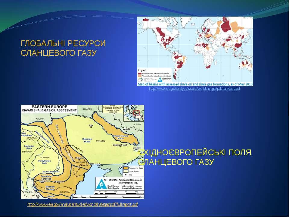 СХІДНОЄВРОПЕЙСЬКІ ПОЛЯ СЛАНЦЕВОГО ГАЗУ http://www.eia.gov/analysis/studies/wo...