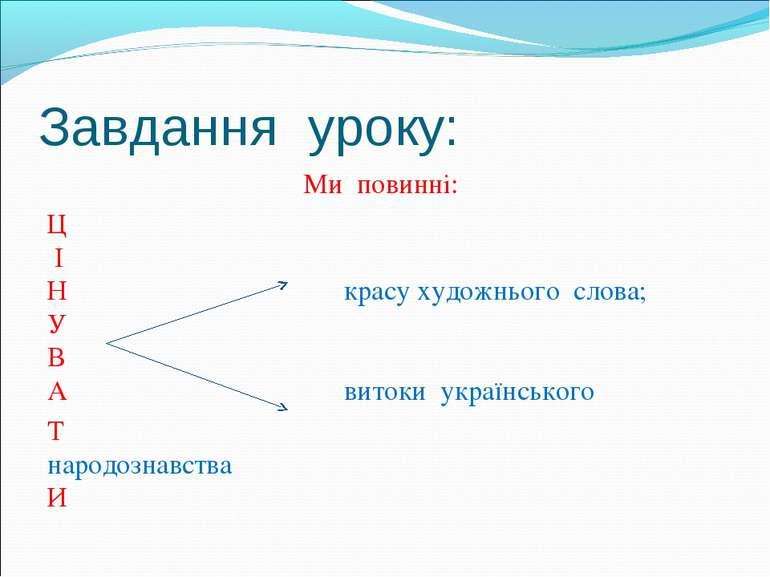 Ми повинні: Ми повинні: Ц І Н красу художнього слова; У В А витоки українсько...