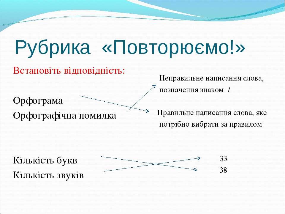 Встановіть відповідність: Встановіть відповідність: Орфограма Орфографічна по...