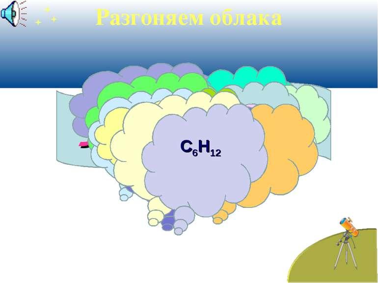 Углеводороды Разгоняем облака С6Н14 СН2=СН2 С5Н8 С7Н12 С10Н22 - С3Н7 С8Н18 - ...