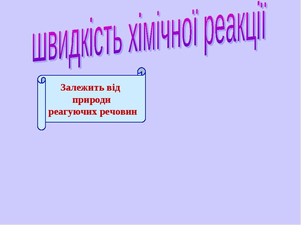 Залежить від природи реагуючих речовин Водолазская О.А.