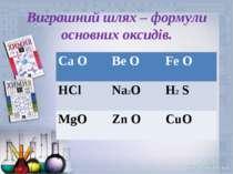 Виграшний шлях – формули основних оксидів. Ca O Be O Fe O HCl Na2O H2 S MgO Z...