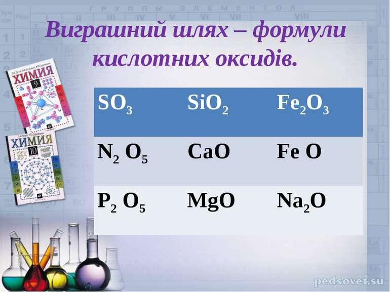 Виграшний шлях – формули кислотних оксидів. SO3 SiO2 Fe2O3 N2 O5 CaO Fe O P2 ...