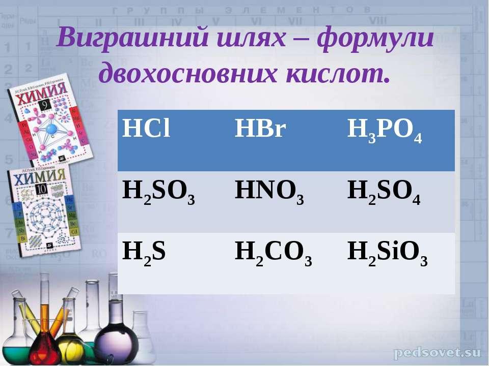 Виграшний шлях – формули двохосновних кислот. HCl HBr H3PO4 H2SO3 HNO3 H2SO4 ...