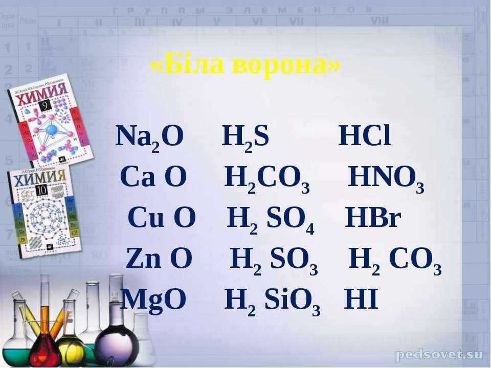 «Біла ворона» Na2O H2S HCl Ca O H2CO3 HNO3 Cu O H2 SO4 HBr Zn O H2 SO3 H2 CO3...