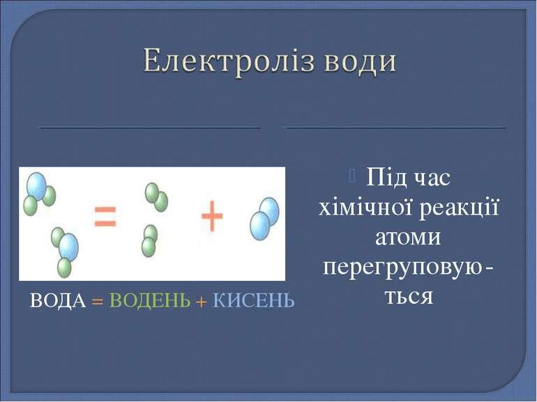 ВОДА = ВОДЕНЬ + КИСЕНЬ Під час хімічної реакції атоми перегруповую-ться