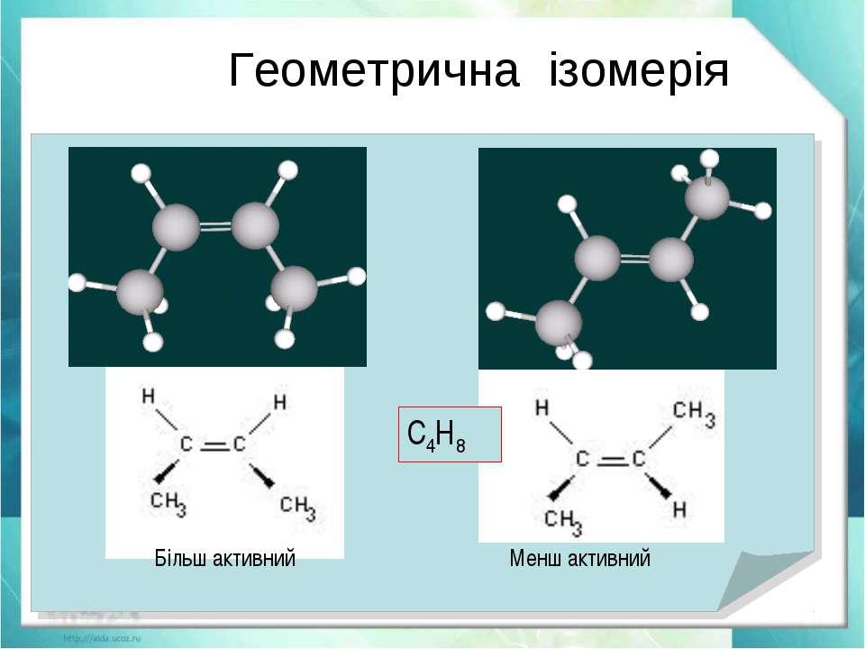 Геометрична ізомерія Явление существования изомеров, одинаковых по составу и ...