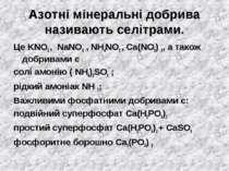 Азотні мінеральні добрива називають селітрами. Це KNO3 , NaNO3 , NH4NO3 , Ca(...