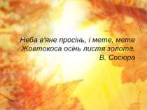 Неба в'яне просінь, і мете, мете Жовтокоса осінь листя золоте. В. Сосюра