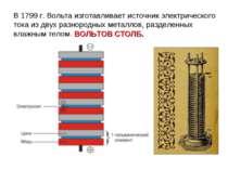 В 1799 г. Вольта изготавливает источник электрического тока из двух разнородн...