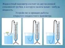 Жидкостный манометр состоит из двухколенной стеклянной трубки, в которую нали...