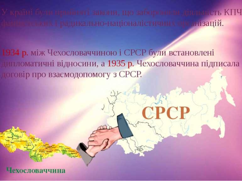 У країні були прийняті закони, що забороняли діяльність КПЧ, фашистських і ра...