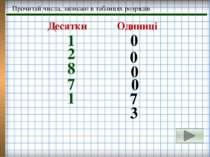 Прочитай числа, записані в таблицях розрядів 1 8 1 7 0 0 0 0 7 3 2 Десятки Од...