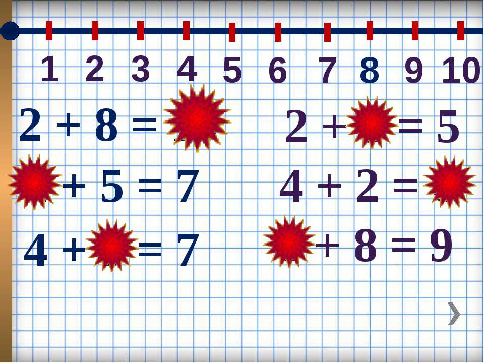 4 2 3 1 5 6 7 8 9 10 4 + 3 = 7 2 + 5 = 7 2 + 8 = 10 2 + 3 = 5 4 + 2 = 6 1 + 8...