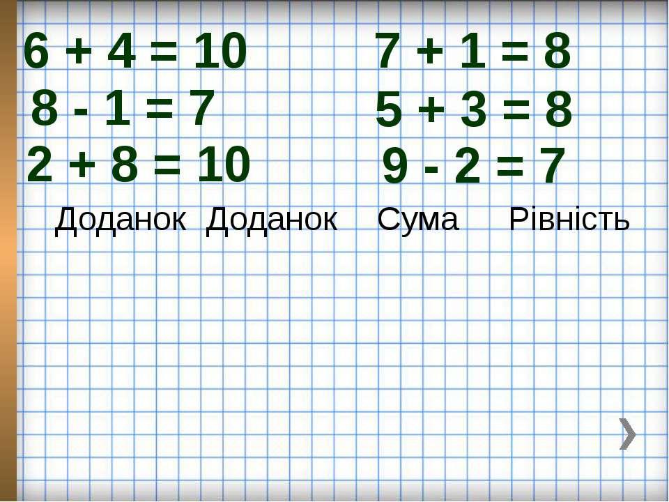 6 + 4 = 10 7 + 1 = 8 8 - 1 = 7 5 + 3 = 8 2 + 8 = 10 9 - 2 = 7 Доданок Доданок...