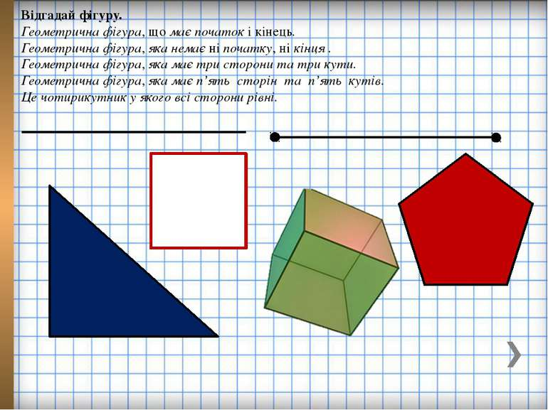 Відгадай фігуру. Геометрична фігура, що має початок і кінець. Геометрична фіг...