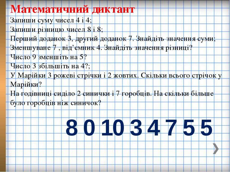 Математичний диктант Запиши суму чисел 4 і 4; Запиши різницю чисел 8 і 8; Пер...