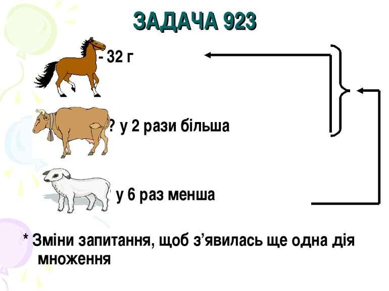 ЗАДАЧА 923 - 32 г - ? у 2 рази більша - ? у 6 раз менша * Зміни запитання, що...