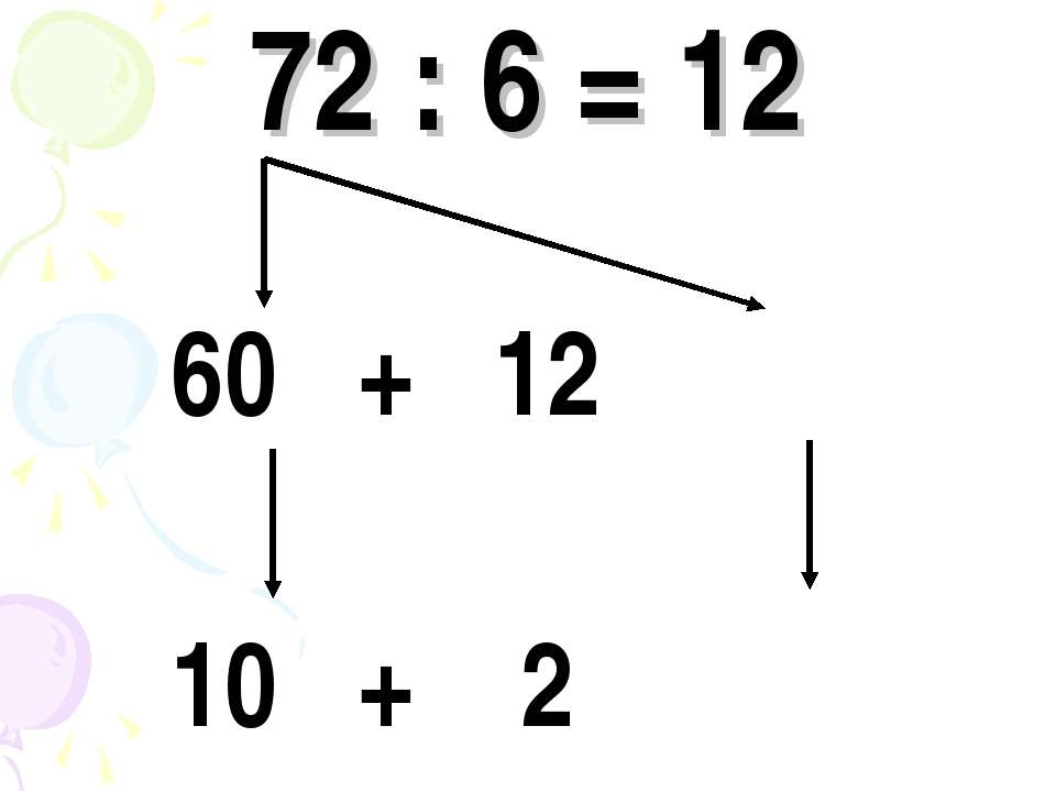 72 : 6 = 12 60 + 12 10 + 2