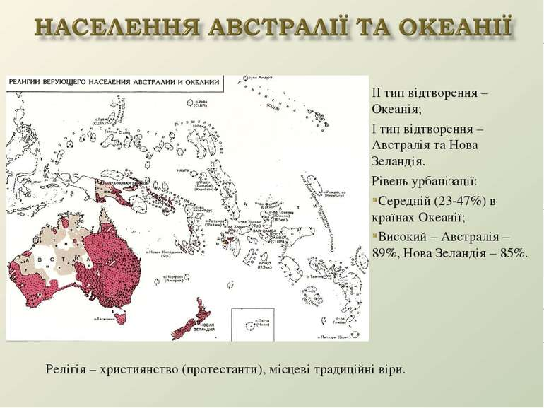 ІІ тип відтворення – Океанія; І тип відтворення – Австралія та Нова Зеландія....