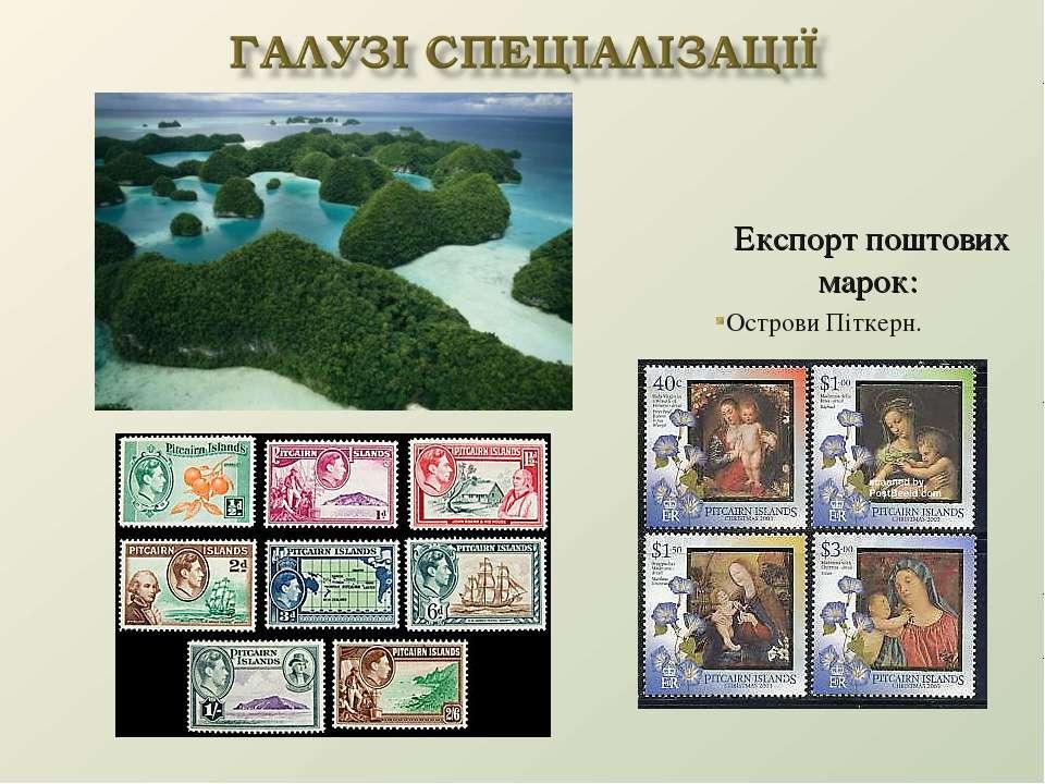 Експорт поштових марок: Острови Піткерн.
