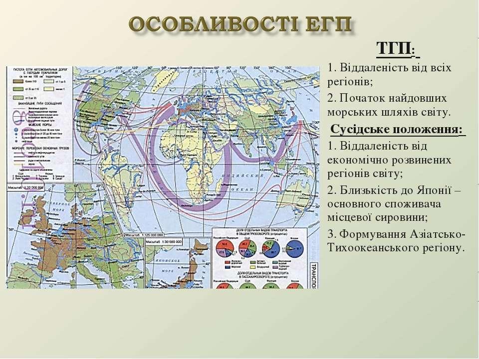 ТГП: 1. Віддаленість від всіх регіонів; 2. Початок найдовших морських шляхів ...