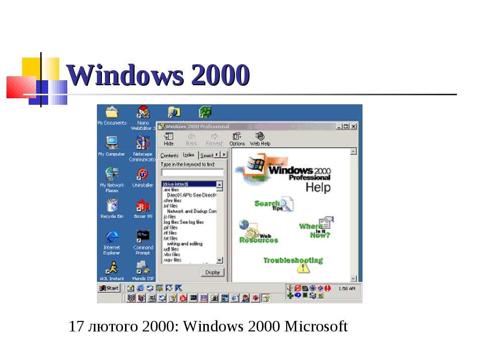 Windows 2000 17 лютого 2000: Windows 2000 Microsoft