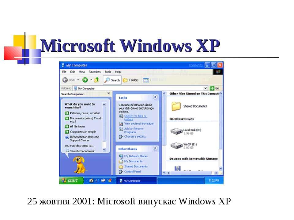 Microsoft Windows XP 25 жовтня 2001:Microsoft випускає Windows XP