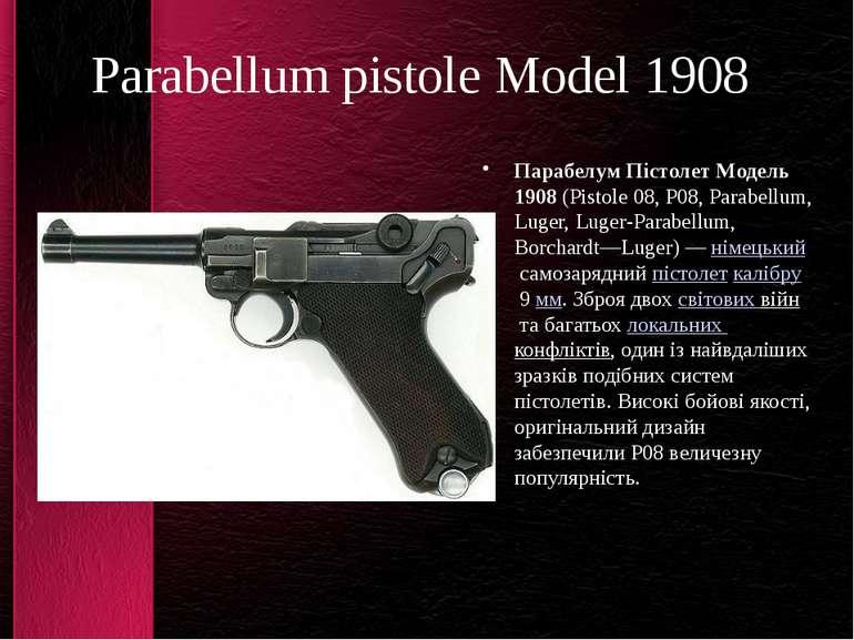 Parabellum pistole Model 1908 Парабелум Пістолет Модель 1908(Pistole 08, P08...