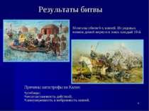 * Результаты битвы Причины катастрофы на Калке: усобицы; несогласованность де...