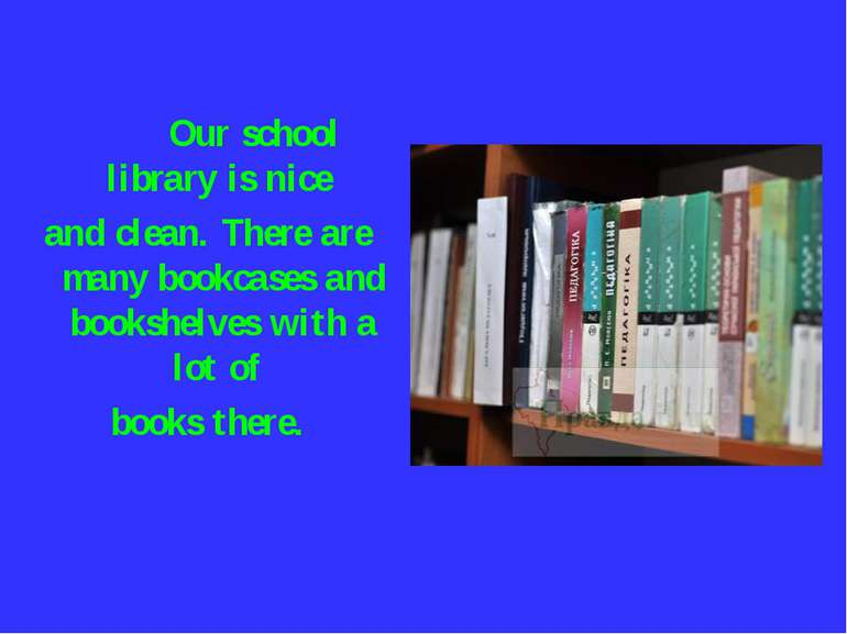 Our school library is nice and clean. There are many bookcases and bookshelve...
