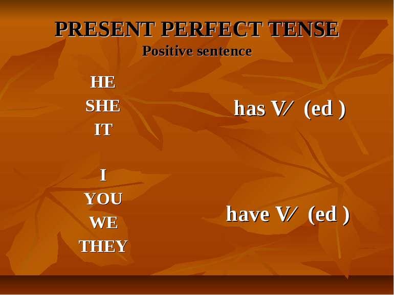 PRESENT PERFECT TENSE Positive sentence HE SHE IT has Vɜ (ed )