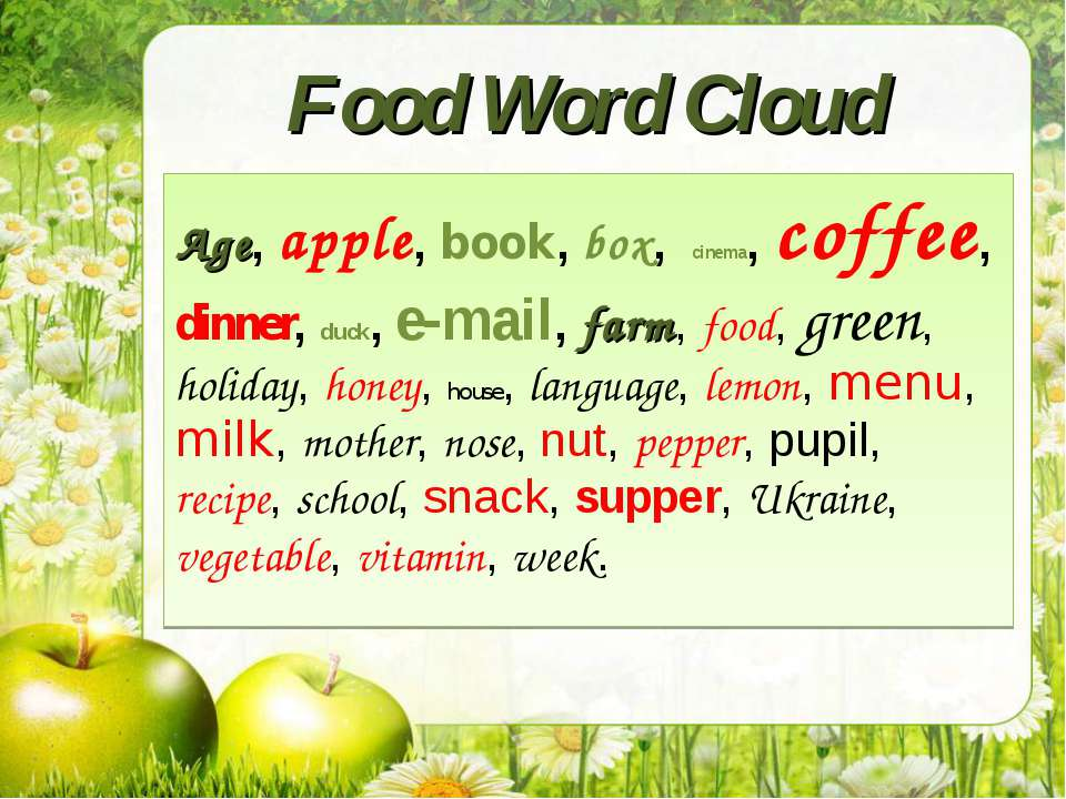 Food Word Cloud Age, apple, book, box, cinema, coffee, dinner, duck, e-mail, ...