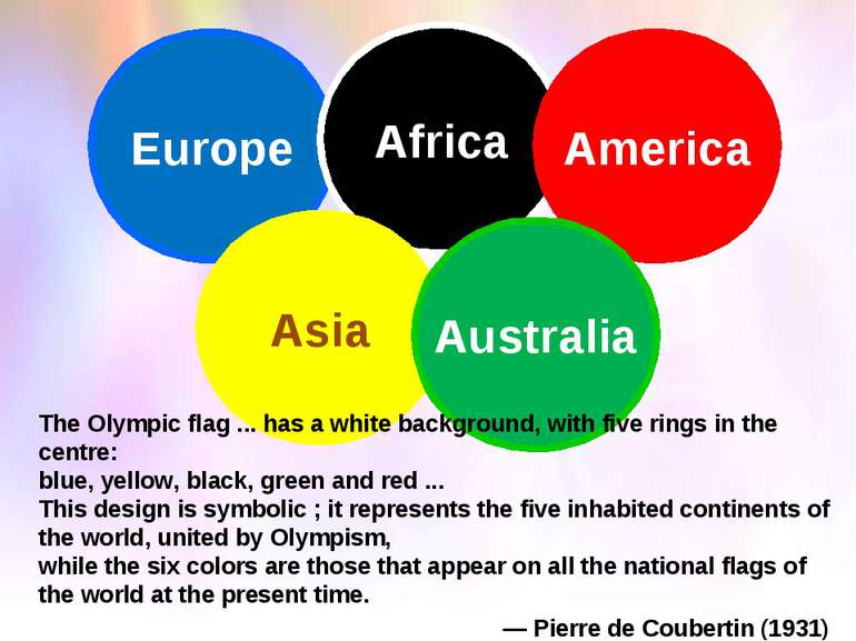 Europe Africa America Asia Australia The Olympic flag ... has a white backgro...