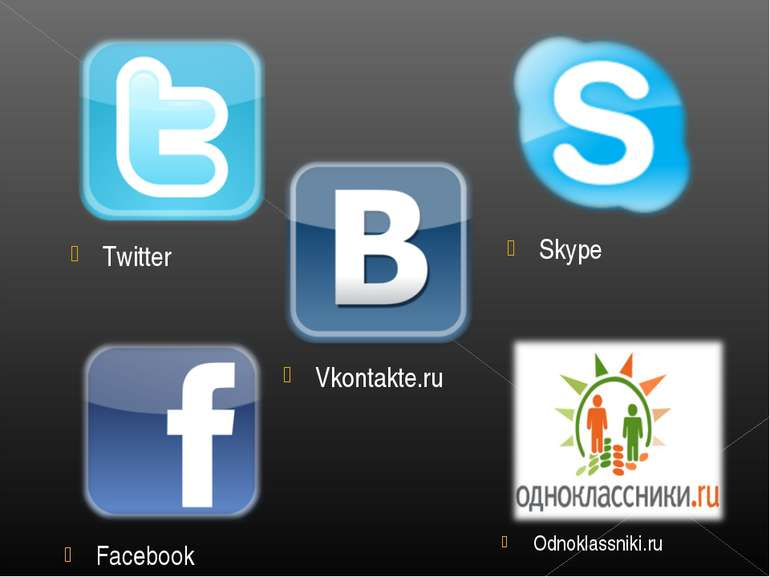 Facebook Skype Vkontakte.ru Odnoklassniki.ru Twitter