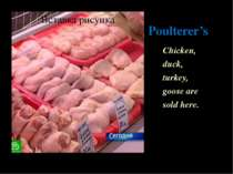 Poulterer's Chicken, duck, turkey, goose are sold here.