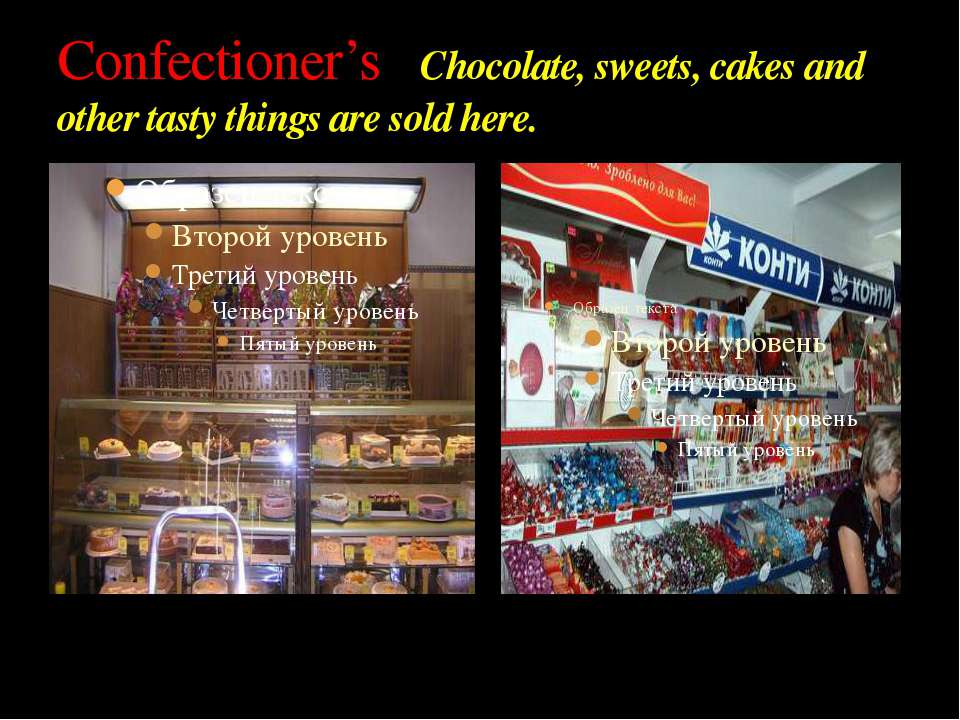 Confectioner's Chocolate, sweets, cakes and other tasty things are sold here.