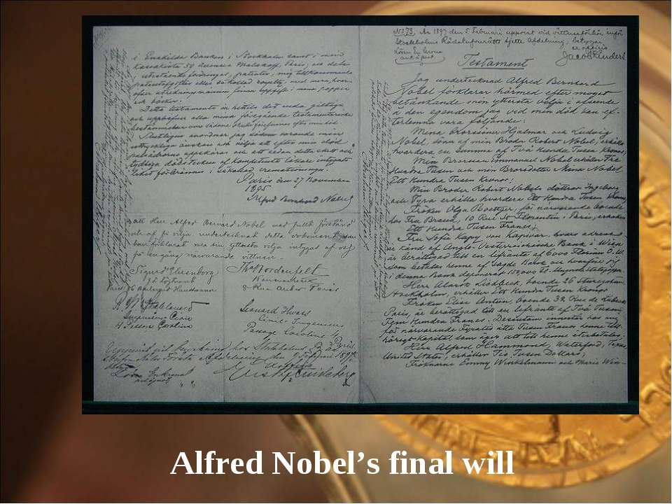 Alfred Nobel's final will
