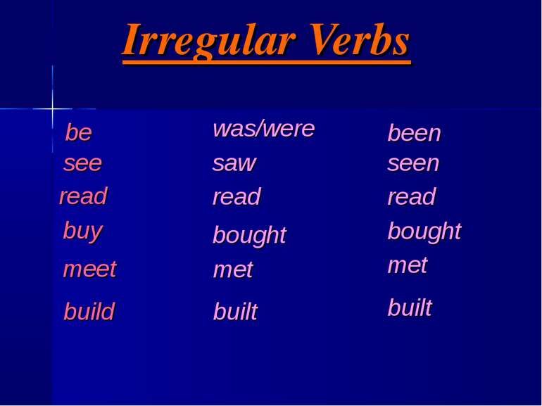 Irregular Verbs be see read buy meet build was/were saw read bought met built...