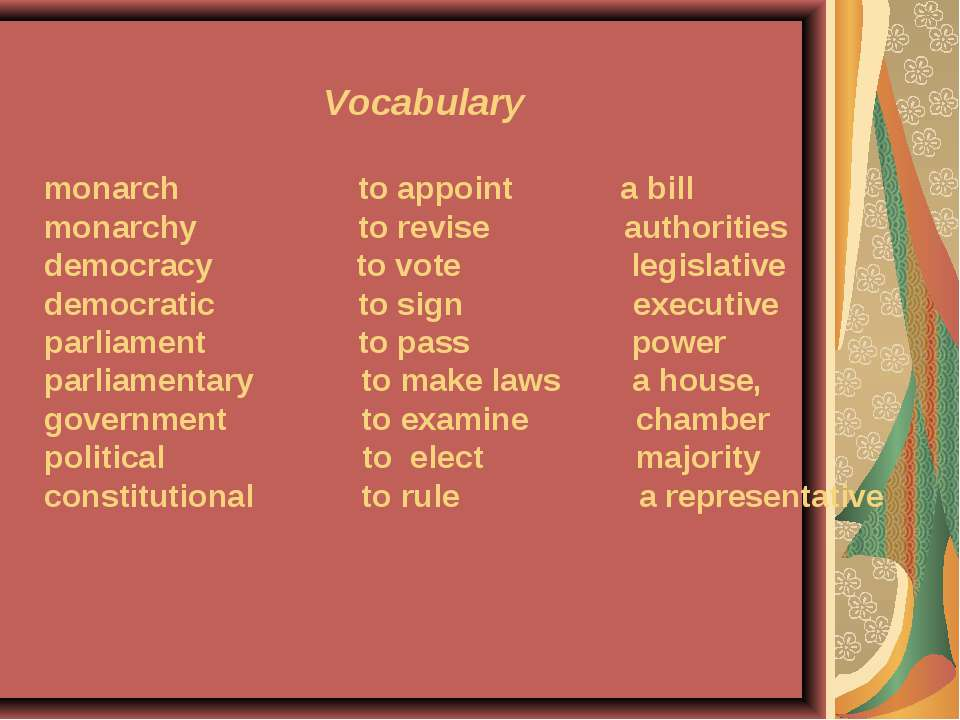 Vocabulary monarch to appoint a bill monarchy to revise authorities democracy...