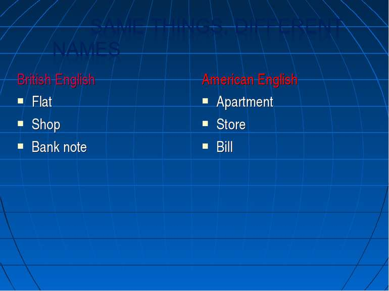 British English Flat Shop Bank note American English Apartment Store Bill