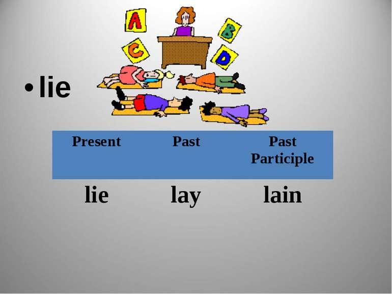 lie Present Past Past Participle lie lay lain