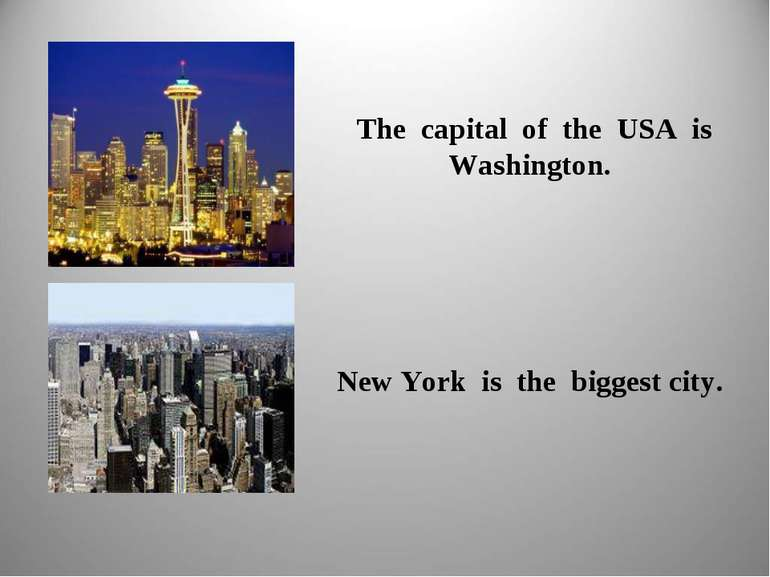 The capital of the USA is Washington. New York is the biggest city.