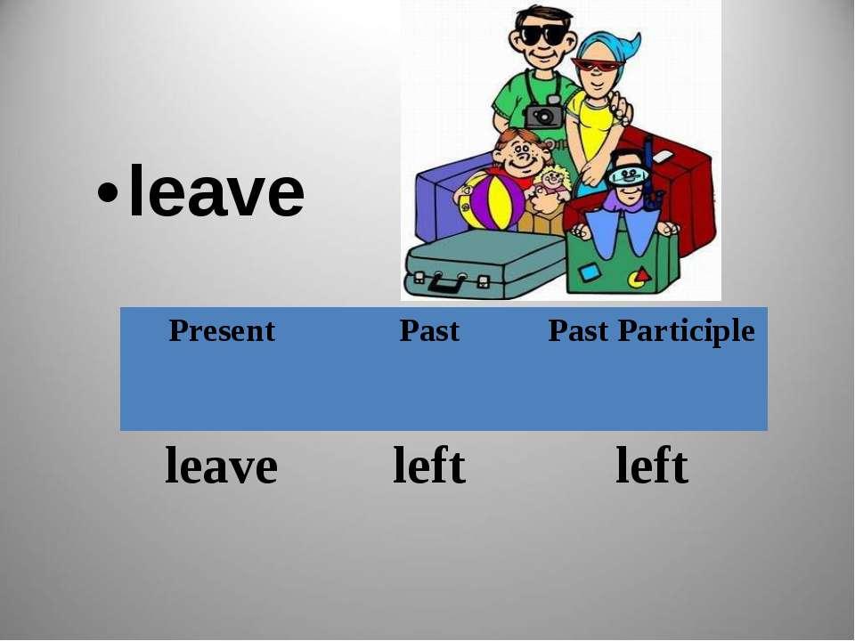 leave Present Past Past Participle leave left left
